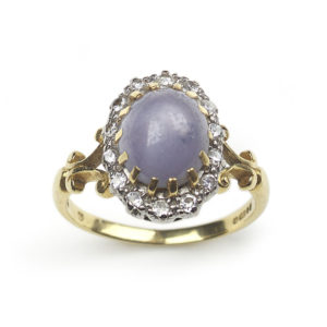 Vintage Star Sapphire & Diamond Cluster Ring