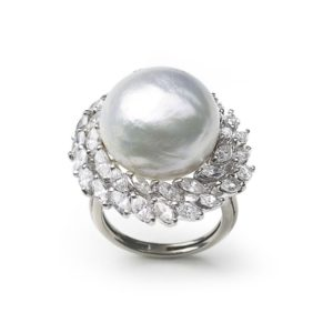 Vintage South Sea Pearl & Diamond Cluster Ring