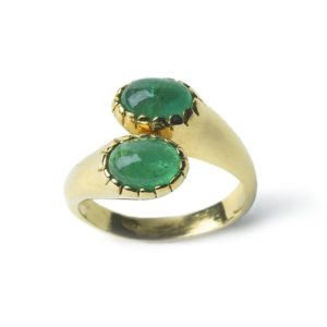 Vintage Emerald Double Crossover Ring