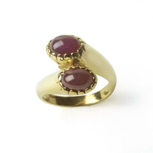 Vintage Two-Stone Ruby Crossover Ring