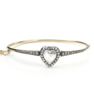 Antique Victorian Moonstone & Diamond Heart Bangle