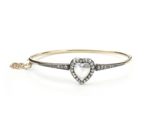 Antique Victorian Moonstone & Diamond Heart Bangle
