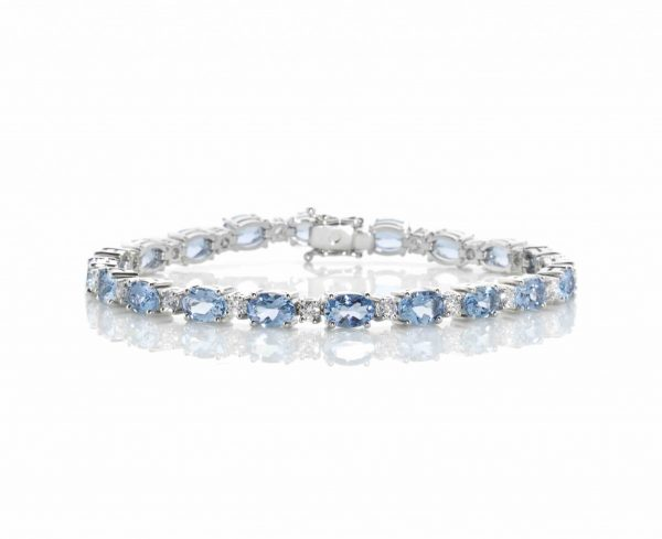 Aquamarine & Diamond Link Bracelet