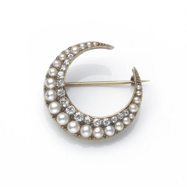 Antique Victorian Pearl & Diamond Crescent Brooch