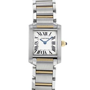 Cartier Tank Francaise Stainless steel and 18ct yellow gold bracelet watch, Ref 2384