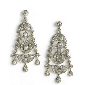 Antique diamond drop earrings CHANDELIER Victorian 1880 Fine jewellery