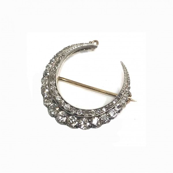 Antique victorian diamond crescent brooch old cut diamonds