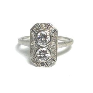 Art Deco diamond ring, engagement ring panel old cut diamond Platinum