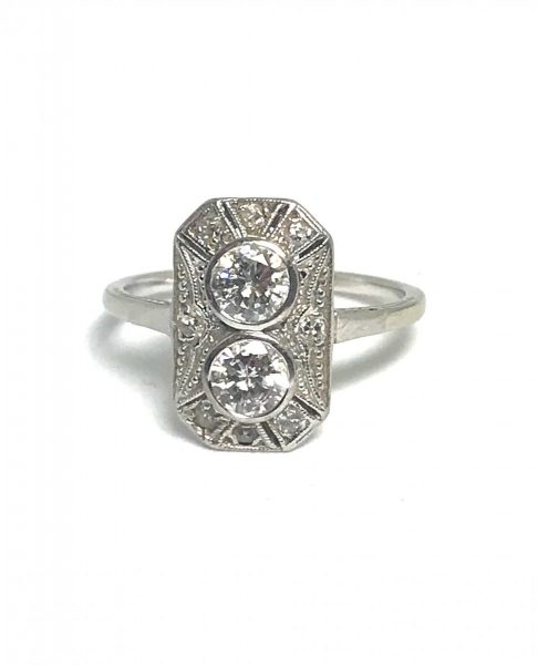 Art Deco diamond ring, engagement ring panel old cut diamond Platinum
