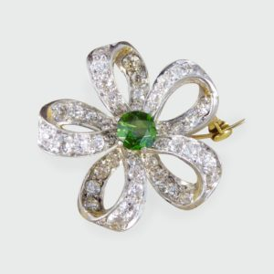 Antique Victorian Green Garnet & Diamond Flower Brooch Pendant