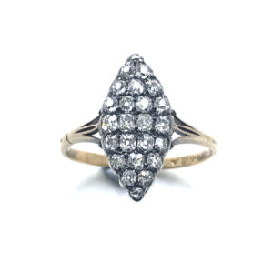 Antique ring, marquise navette shape, old mine cut diamond silver and gold victorian 1860-1880