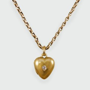 Antique Victorian Diamond Set Heart Locket Necklace