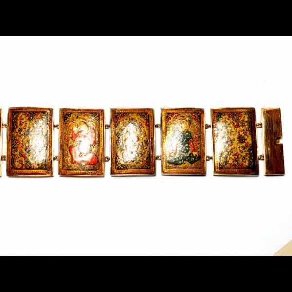 PERSIAN GOLD ENAMEL PAINTED PANEL BRACELET