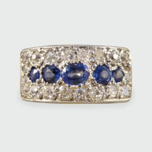 Antique Art Deco Diamond & Sapphire Horizontal Panel Ring