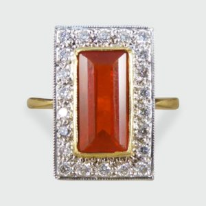 Vintage Fire Opal & Diamond Cluster Ring