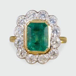 Edwardian Style Emerald and Diamond Cluster Ring