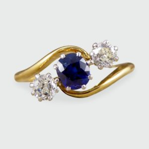 Antique Edwardian Sapphire & Diamond Three Stone Twist Ring
