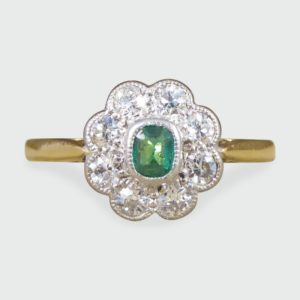 Antique Art Deco Emerald and Diamond Cluster Ring
