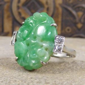 Antique Art Deco Carved Jade & Diamond Ring