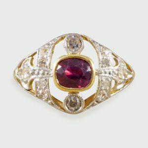 Antique Edwardian Ruby & Diamond Ring