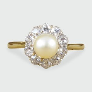 Antique Edwardian Pearl & Diamond Cluster Ring