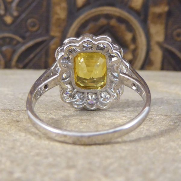 Contemporary Yellow Sapphire & Diamond Cluster Ring