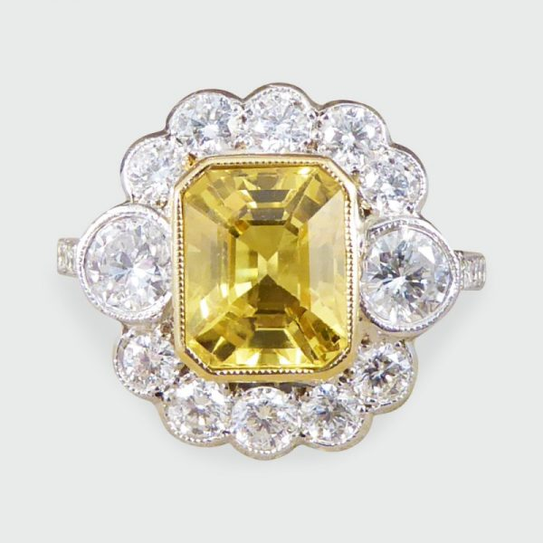 48b35df291870 Contemporary Yellow Sapphire & Diamond Cluster Ring