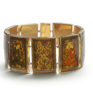 Antique Persian Gold Enamel Painted Panel Bracelet