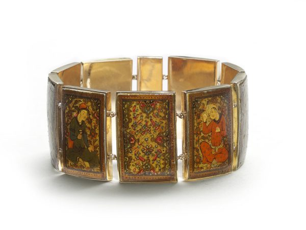 Antique Persian Gold Enamel Painted Panel Bracelet