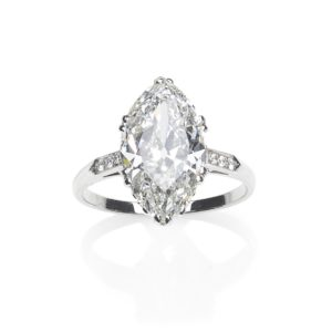 Antique Victorian GIA Certified Marquise Shaped Diamond Ring