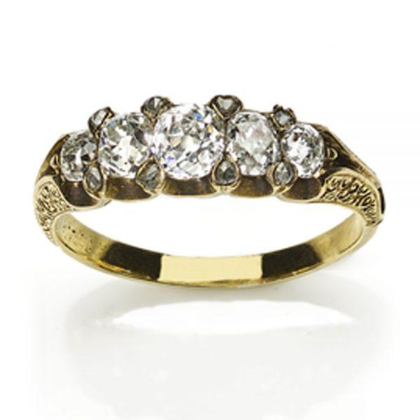 Antique Victorian Five Stone Diamond Ring