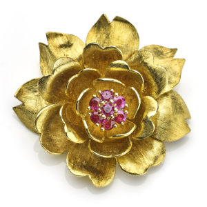 Vintage Ben Rosenfeld Ruby Set Rose Brooch