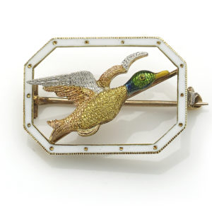 Antique Art Deco Flying Mallard Brooch