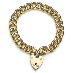 Antique Edwardian Curb Link Bracelet With Heart Shaped Padlock