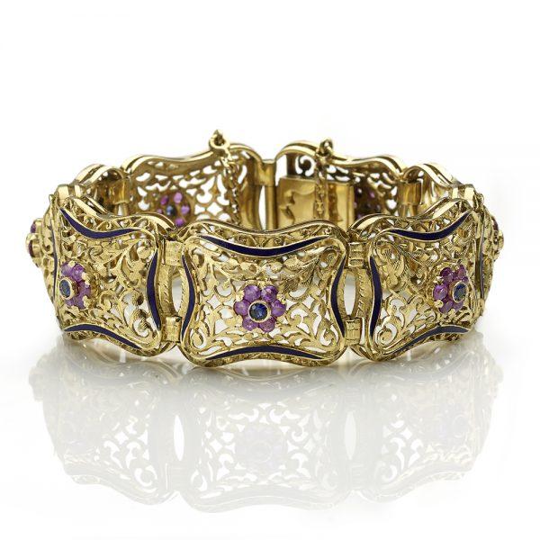 Vintage Italian Enamelled Gem Set Gold Bracelet
