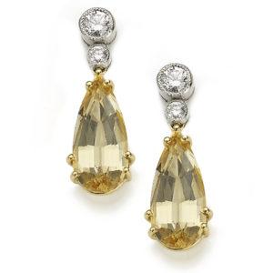 Diamond and Topaz Drop Earrings November Birthstone