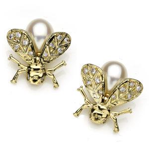 Pearl and Diamond Bee Earrings