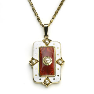 Antique Edwardian Murrle Bennett & Co. Enamel & Seed Pearl Pendant
