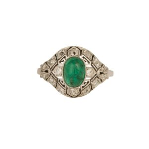 Antique Cabochon Emerald & Diamond Domed Ring