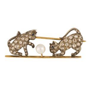 Antique Victorian Pearl & Diamond Cat Brooch