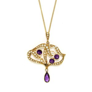 Amethyst & Pearl Gold Necklace
