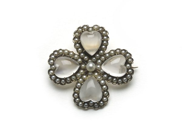 Antique Victorian Moonstone & Pearl Four-Leaf-Clover Brooch-cum-Pendant