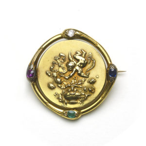 Antique Victorian French Gold Spinning Cherub Brooch
