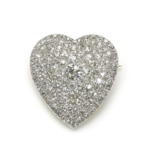 Antique Art Deco Diamond Heart Pendant Brooch