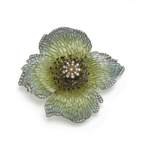 Moira Poppy Head Flower Brooch
