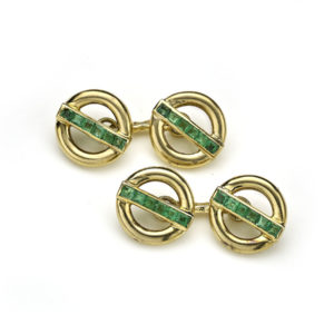 Vintage Pierre Brun French Emerald & Gold Cufflinks