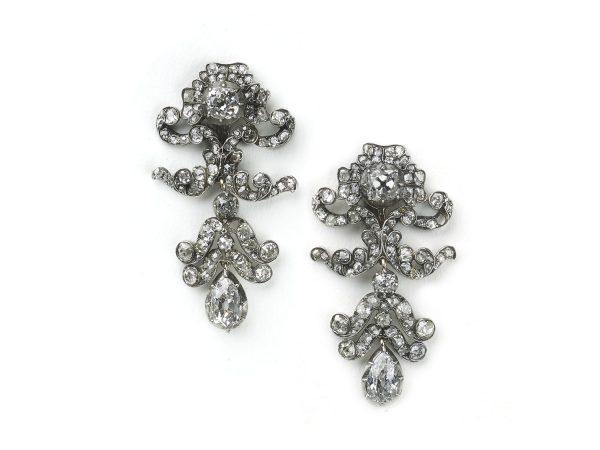 Antique Victorian Diamond Drop Earrings
