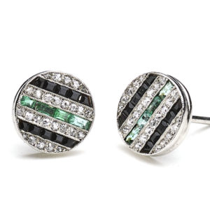 Antique Art Deco Diamond Black Onyx & Emerald Stud Earrings