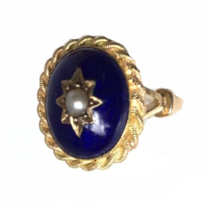 Antique Victorian Blue Enamel & Pearl Ring