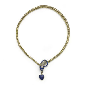 Antique Victorian Blue Enamel Natural Half Pearl & Diamond Snake Necklace Snake jewellery